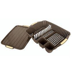Πιατοθήκη Στεγνωτήρι Πιάτων 48x38x9cm Βάρος 0.82kg 12 Θέσεις Πιάτων με Δίσκο RATTAN Καφέ