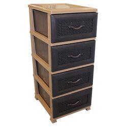 VESTA Συρταριέρα Πλαστική 4όροφη 38x46x90cm 5.4kg Μπεζ-Καφέ Σκούρο