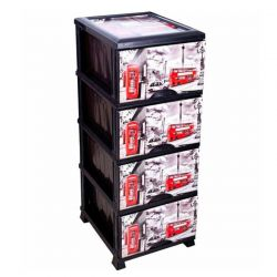 VESTA Συρταριέρα Πλαστική 4όροφη 38x46x90cm 5.4kg Καφέ Σκούρο με Decor London