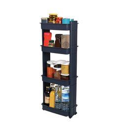Τρόλεϊ Κουζίνας/Μπάνιου 37.5x23x101cm Πλαστικό 4όροφο με Ρόδες Ανθρακί