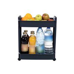 Τρόλεϊ Κουζίνας/Μπάνιου 37.5x23x45cm Πλαστικό 2όροφο με Ρόδες Ανθρακί