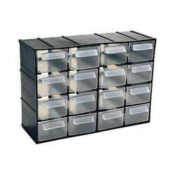 Σύστημα Αποθήκευσης Πολλαπλών Χρήσεων/Συρταριέρα Εργαλειοθήκη Organiser 38.2x14.8x23cm με 16 Διάφανα Συρτάρια Μαύρο Artplast Ιταλίας