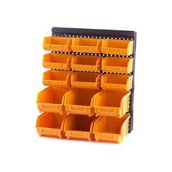 Εργαλειοθήκη Τοίχου/Organiser 32.3x18x38.5cm Πλαστικό ΣΕΤ 15 τεμαχίων με Διάτρητη Πλάτη 9+6 Σκαφάκια Μαύρο-Πορτοκαλί Artplast Ιταλίας