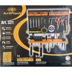 Εργαλειοθήκη ΤοίχουOrganiser 64.6x14x38.5cm Πλαστικό με Διάτρητη Πλάτη 1 Ράφι 6 Σκαφάκια 19 Γάντζους Μαύρο-Πορτοκαλί Artplast Ιταλίας