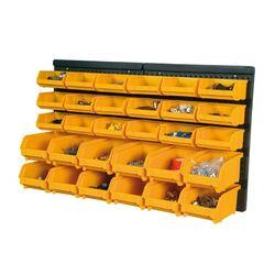Εργαλειοθήκη Τοίχου/Organiser 64.6x18x38.5cm Πλαστικό ΣΕΤ 30 τεμαχίων με Διάτρητη Πλάτη 18+12 Σκαφάκια Μαύρο-Πορτοκαλί Artplast Ιταλίας