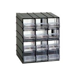 Σύστημα Αποθήκευσης Πολλαπλών Χρήσεων/Συρταριέρα Εργαλειοθήκη Organiser 19.2x14.8x23cm με 12 Διάφανα Συρτάρια Μαύρο Artplast Ιταλίας