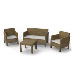 TOOMAX ITALY Καθιστικό-Σαλόνι Κήπου 4 Ατόμων + Τραπέζι Κήπου Πολυπροπυλένιο Rattan Cappuccino MATILDE 4 SEATS
