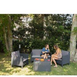 TOOMAX ITALY Καθιστικό-Σαλόνι Κήπου 4 Ατόμων + Τραπέζι Κήπου με Αποθηκευτικό Χώρο Πολυπροπυλένιο Rattan Ανθρακί OLIMPIA 4 SEATS