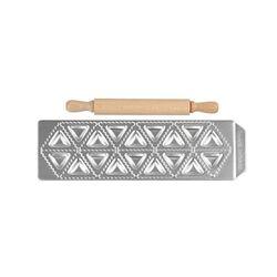 IMPERIA Raviolamp Φόρμα Design 18 θέσεων Αλουμινίου Ασημί για Τριγωνικά Ζυμαρικά Tortelli Classici 33.5x11.5x2cm και Ξύλινος Πλάστης