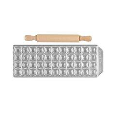 IMPERIA Raviolamp Φόρμα Design 44 θέσεων Αλουμινίου Ασημί για Ζυμαρικά Raviolini Da Brodo 28.5x10.5x1.5cm και Πλάστης