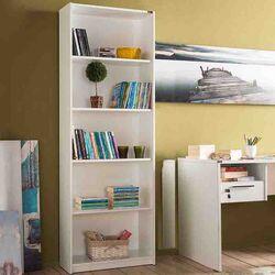 Βιβλιοθήκη-Ραφιέρα 5όροφη 64x26x182cm Ξύλινη 23.3kg Λάκα Γυαλιστερή Λευκό
