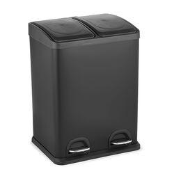 VESTA Κάδος Απορριμμάτων 40lt 39.6x30x59.2cm με Πεντάλ 2 Θέσεων 2 Εσωτερικούς Κάδους Ανακύκλωσης Μεταλλικός Μαύρο Ματ 6.8Kg Κουζίνας
