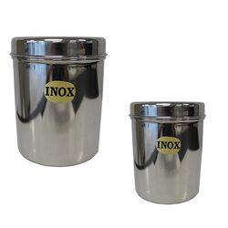 Ανοξείδωτο Δοχείο-Βάζο Στρογγυλό Ø9x11.5cm με Ανοξείδωτο Καπάκι