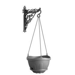 Γλάστρα Τοίχου Κρεμαστή με Γωνία Στήριξης Ø28x20cm12.5lt Πλαστική 0.43Kg Gondola Set Γκρι BAMA Ιταλίας