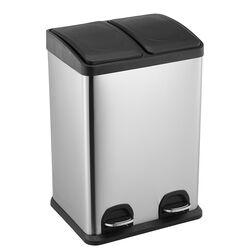 VESTA Κάδος Απορριμμάτων ΙΝΟΧ 30lt 40x34x47.5cm με Πεντάλ 2 Θέσεων 2 Εσωτερικούς Κάδους Ανακύκλωσης 5.7Kg Κουζίνας