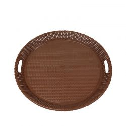 Δίσκος Σερβιρίσματος Στρογγυλός Ø43x4cm Πλαστικός Βάρος 0.37kg με Πλεκτό Σχέδιο Σκούρο Καφέ