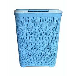 Δοχείο Απλύτων 55lt 44x33x56cm Γαλάζια Δαντέλα
