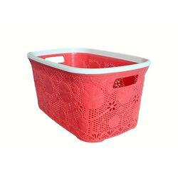 Πλαστικό Καλάθι Ρούχων 40lt Κοραλί Δαντέλα.
