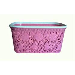 Καλάθι Ρούχων 40lt Ροζ Δαντέλα