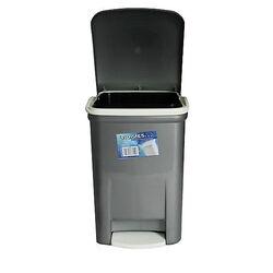 Κάδος Μπάνιου Πεντάλ 13.5lt 25x22x32cm Εσωτερικό Κάδο 7lt 18x18x24cm Πλαστικός Ασημί VIOMES Ελλάδας