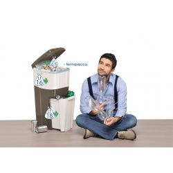 Κάδος Ανακύκλωσης Απορριμάτων 28x39x70 Τριπλός Πλαστικός Κουζίνας 38,5lt Λευκό-Ανοιχτό Γκρι 2,5kg