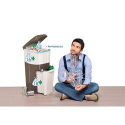 Κάδος Ανακύκλωσης Απορριμάτων 28x39x70 Τριπλός Πλαστικός Κουζίνας 38.5lt Ανθρακί-Γκρί 2.5kg