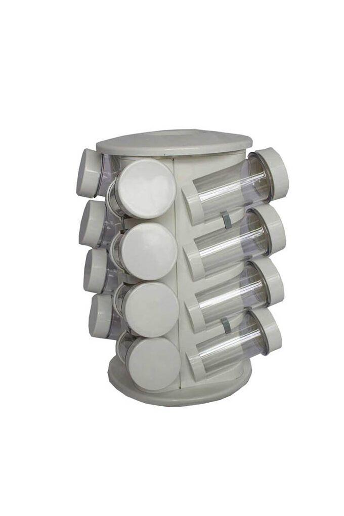 Σετ Μπαχαρικών 16 Θέσεων Φ16x26cm με Περιστρεφόμενη Βάση Πλαστικό ABS