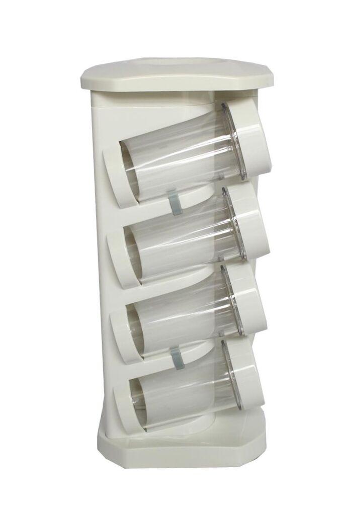 Σετ Μπαχαρικών 8 Θέσεων 12x12x27cm με Περιστρεφόμενη Βάση Πλαστικό ABS