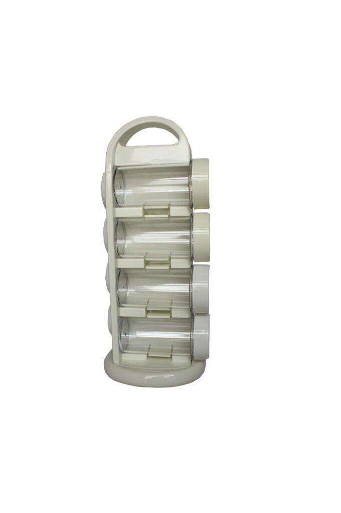 Σετ Μπαχαρικών 8 Θέσεων 13x12x29cm με Περιστρεφόμενη Βάση Πλαστικό ABS και Χειρολαβή