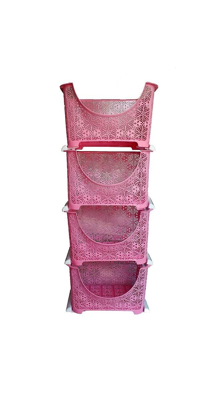 Ραφιέρα 4όροφη 27x27x88cm Δαντέλα Ροζ