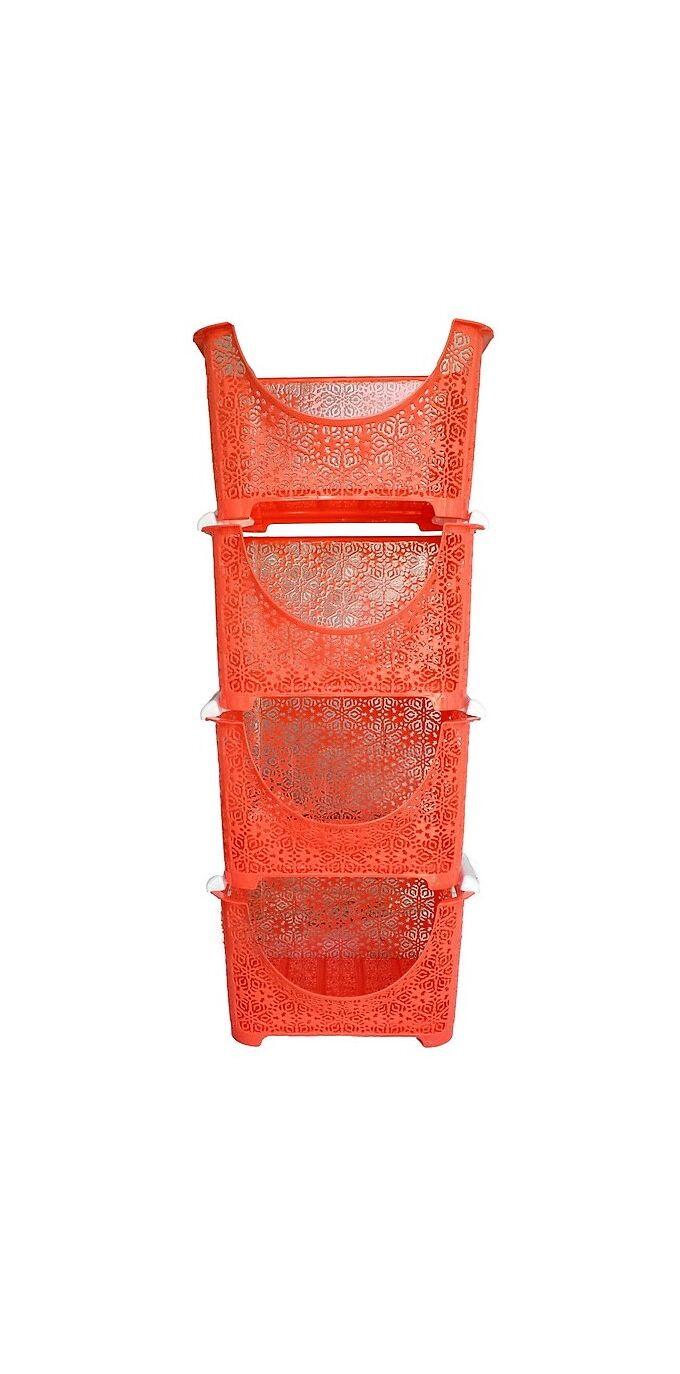 Ραφιέρα 4όροφη 37x27x88cm Δαντέλα Κοραλί