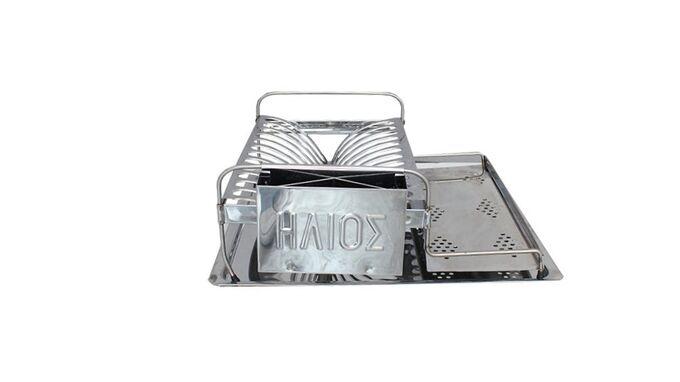 Πιατοθήκη Στεγνωτήρι Πιάτων ΙΝΟΧ (Ανοξείδωτο Ατσάλι) Χαμηλό 42x39x15.5cm Βάρος 1.45kg 12 Θέσεις Πιάτων Με INOX Δίσκο Και Θήκη