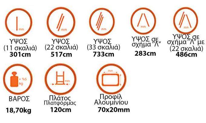 Σκάλα Αλουμινίου 3x11 Σκαλιά Επαγγελματική 7.33m Αναπτυσσόμενη Τριπλή με Βάση Στηρίγματος 18.7kg Αντοχή 150kg SN7311