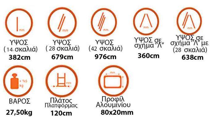 Σκάλα Αλουμινίου 3x14 Σκαλιά Επαγγελματική 9.76m Αναπτυσσόμενη Τριπλή με Βάση Στηρίγματος 27.5kg Αντοχή 150kg SN7314