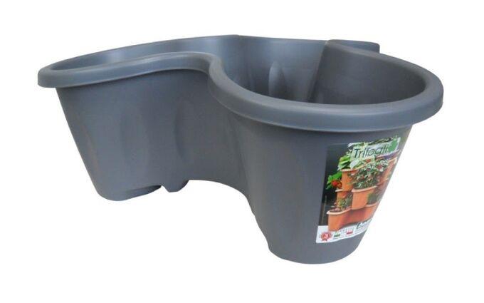Γλάστρα Σύνθεσης Τριπλή Στοιβαζόμενη Ø53x20cm 20lt Πλαστική Γκρι 0.65kg TRIFOGLIO BAMA Ιταλίας