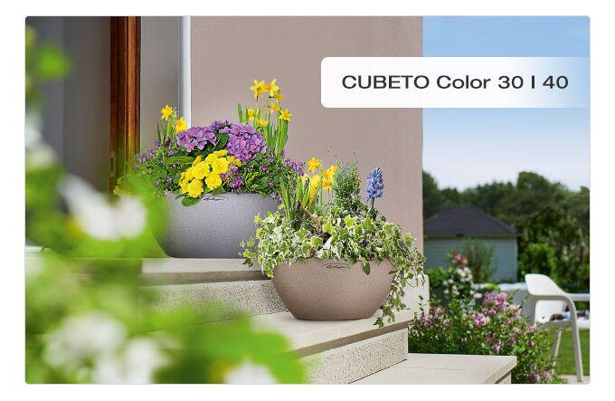 LECHUZA Cubeto Color30 Επιτραπέζια Γλάστρα Ø30x13.5cm Αυτοποτιζόμενη με Δοχείο Φύτευσης 4.5lt ΓΚΡΙ με Όψη Πέτρας Γερμανίας