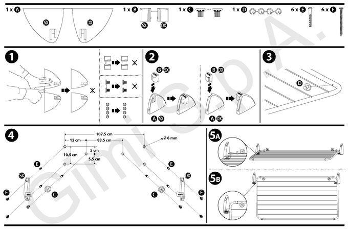 GIMI ITALY Απλώστρα Ρούχων Τοίχου Μεταλλική 111x55x13.5cm Βαμμένη Μέγιστο Άπλωμα 10m Αντοχή 7kg TABULA