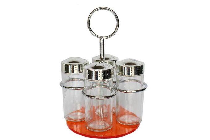 Σετ Μπαχαρικών 4 Θέσεων Φ12x19cm Μεταλλικό με Γυάλινα Βαζάκια και Διαφανή Θερμοπλαστική Πορτοκαλί Βάση