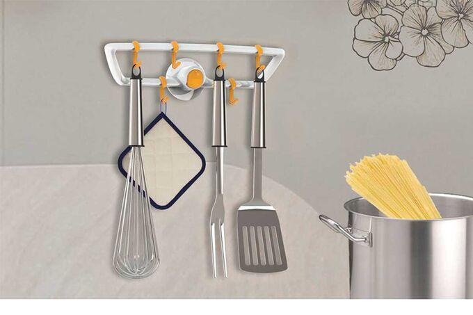 Κρεμάστρα Κουζίνας με 8 γάντζους 29.3x8.1x9.4cm Πλαστική Επιτοίχια Λευκή-Καφέ BAMA Ιταλίας