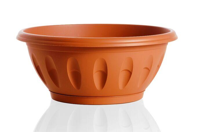 Γλάστρα Μπωλ Βαρέως Τύπου με Πιάτο Ø30x18x13cm 6.2lt Πλαστική Κεραμιδί  ALBA BAMA Ιταλίας