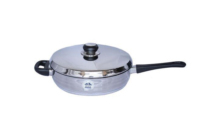 Τηγάνι INOX 18/10 Ø26cm με Καπάκι Βάρος 1.96kg Χερούλια Βακελίτη για Όλες τις Εστίες VESTA CLASSIC