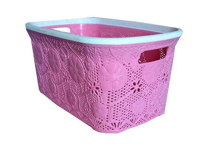 Πλαστικό Καλάθι Ρούχων 40lt Ροζ Δαντέλα