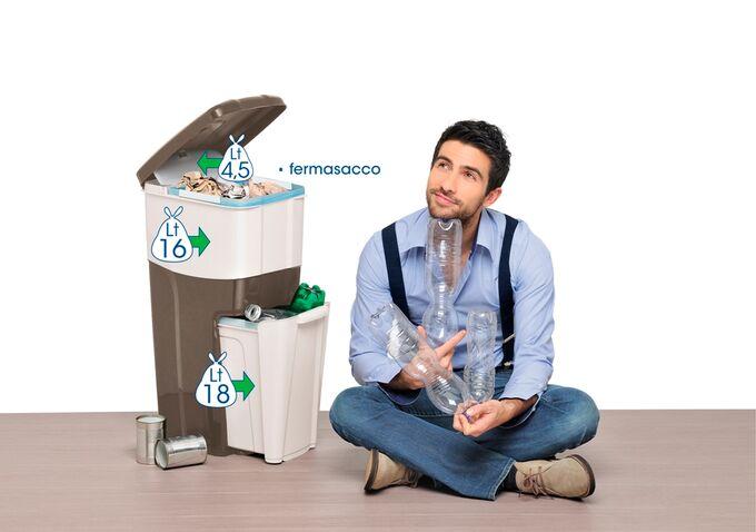 Κάδος Ανακύκλωσης Απορριμάτων 28x39x70cm Τριπλός Πλαστικός Κουζίνας 38.5lt Γραφίτης-Ασημί 2.5kg