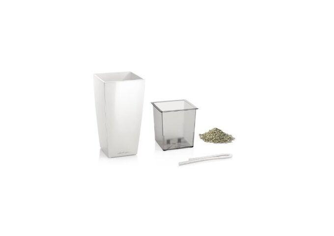 LECHUZA Mini-Cubi Επιτραπέζια Γλάστρα 9.5x9.5x18.5cm Αυτοποτιζόμενη με Δοχείο Φύτευσης ΛΕΥΚΗ Γερμανίας