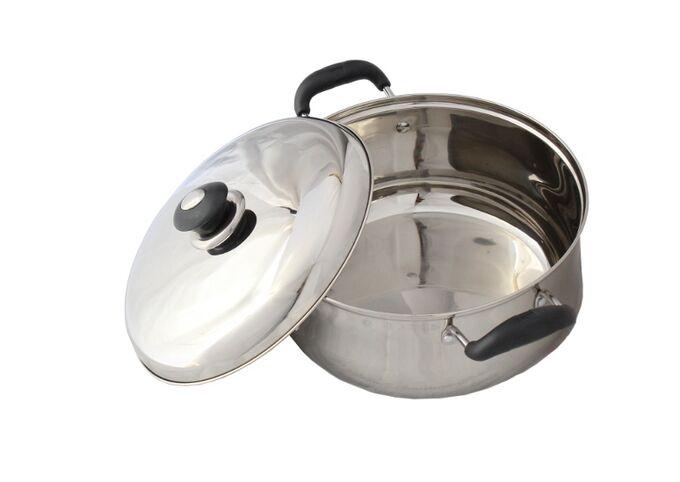 Κατσαρόλα INOX 18/10 Ø18cm 2.4lt με Καπάκι και Χερούλια Βακελίτη Βάρος 0.73kg VESTA BULL