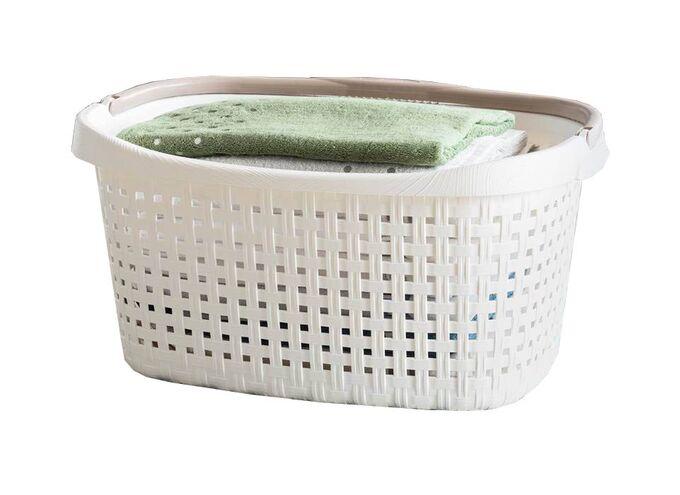 Καλάθι Ρούχων και Κήπου 60x40x27cm Πλαστικό 40lt με Χειρολαβή Λευκό-Καφέ BAMA Ιταλίας
