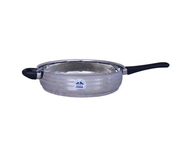 Τηγάνι INOX 18/10 Φ26cm Χωρίς Καπάκι Βάρος 1.62kg Χερούλια Βακελίτη για Όλες τις Εστίες VESTA CLASSIC