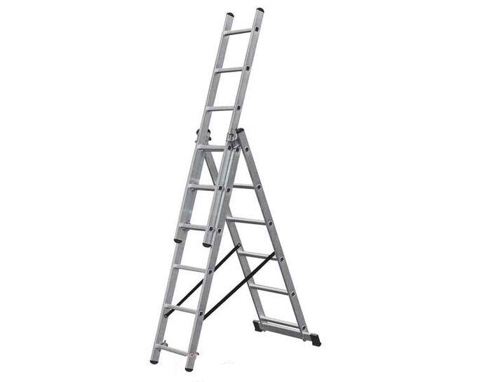 Σκάλα Αλουμινίου 3x6 Σκαλιά Επαγγελματική 3.40m Αναπτυσσόμενη Τριπλή με Βάση Στήριξης 9.2kg MAX Αντοχή 150kg