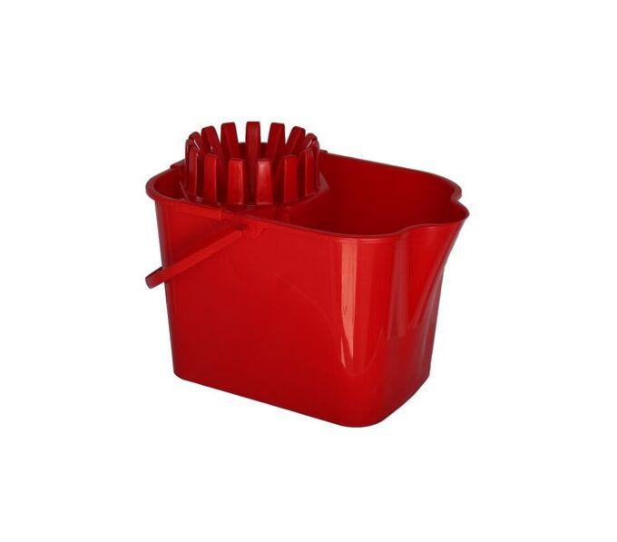 Κουβάς Σφουγγαρίσματος 16lt 38x25.5x32cm με Στίφτη και Ρόδες Κόκκινος