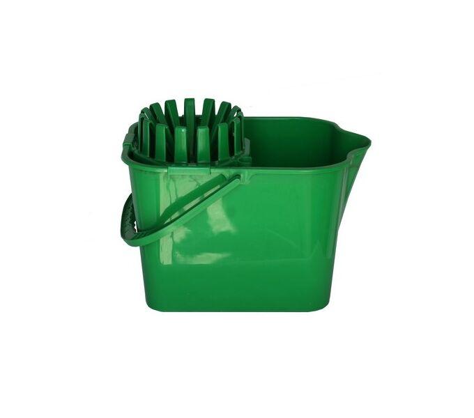 Κουβάς Σφουγγαρίσματος 16lt 38x25.5x32cm με Στίφτη και Ρόδες Πράσινος
